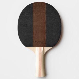 Pala De Ping Pong Negro elegante del vintage y cuero cosido Brown