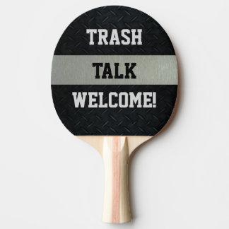 Pala De Ping Pong Negro y paleta divertida de la charla de la basura