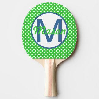 Pala De Ping Pong Nombre e inicial, lunares con el azul y verde