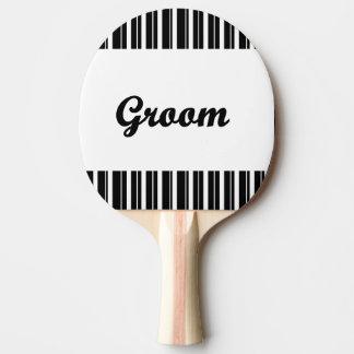 Pala De Ping Pong novio con las rayas blancos y negros