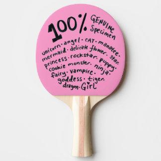 Pala De Ping Pong Paleta auténtica del ping-pong del chica del
