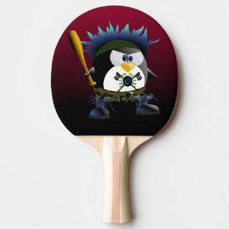 Pala De Ping Pong Paleta azul del ping-pong del pingüino de la