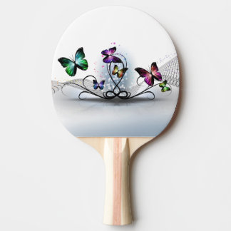 Pala De Ping Pong Paleta colorida del ping-pong de las mariposas