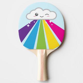 Pala De Ping Pong Paleta del ping-pong de la nube y del arco iris de