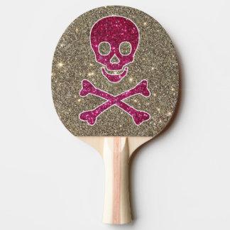 Pala De Ping Pong Paleta rosada y de plata del ping-pong del brillo