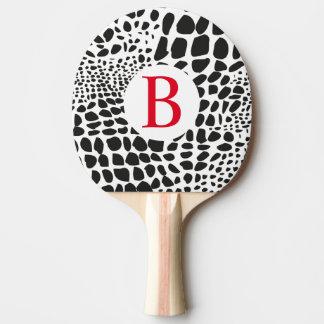 Pala De Ping Pong Piel animal en blanco y negro