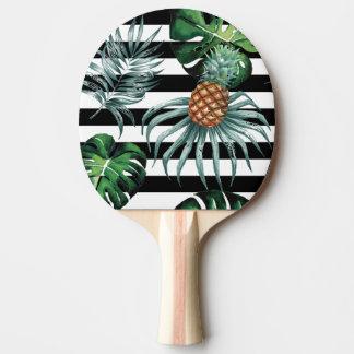 Pala De Ping Pong Piña tropical de la acuarela con las rayas negras