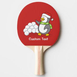 Pala De Ping Pong Pingüino del navidad con agitar de las bolas de la
