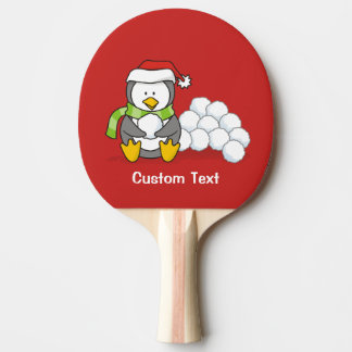 Pala De Ping Pong Pingüino del navidad que se sienta con las bolas