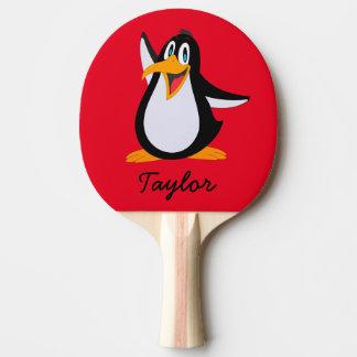 Pala De Ping Pong Pingüino lindo del dibujo animado en rojo con