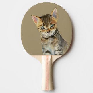 Pala De Ping Pong Pintura de la acuarela del gatito de Shorthair del