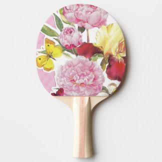 Pala De Ping Pong Ramo rosado y amarillo floral del iris de la