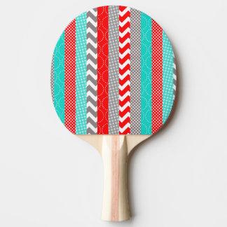 Pala De Ping Pong Rayas rojas y verde azuladas de neón brillantes de
