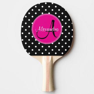 Pala De Ping Pong Rosa negro conocido inicial elegante del lunar con