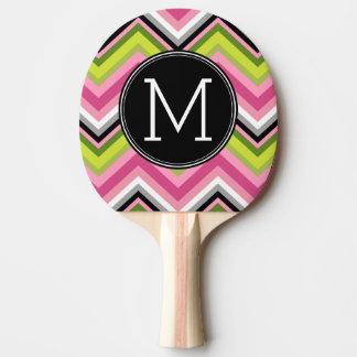 Pala De Ping Pong Rosas fuertes, cal y monograma negro del modelo de