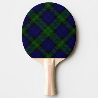 Pala De Ping Pong Tela escocesa negra del verde azul del tartán del