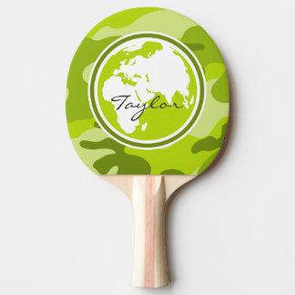 Pala De Ping Pong Tierra; camo verde claro, camuflaje