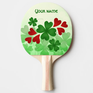 Pala De Ping Pong Trébol lindo del día del St Patricks y corazones