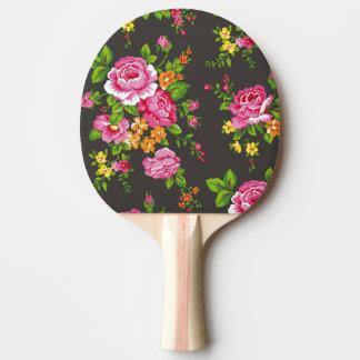 Pala De Ping Pong Vintage floral con los rosas rosados