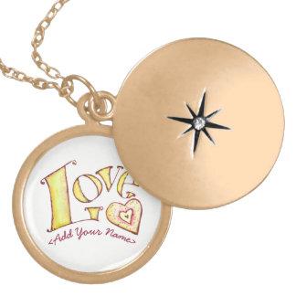 Palabra blanca del amor con el Locket del oro del Dijes