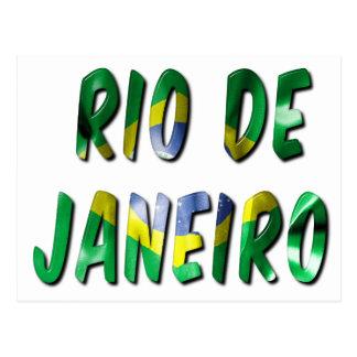 Palabra de Río de Janeiro con la postal de la