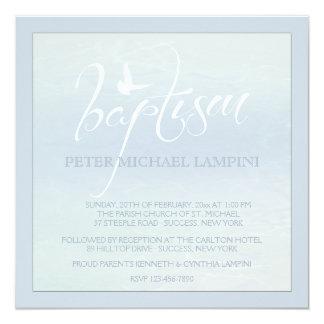 Palabra del bautismo con la invitación del azul de invitación 13,3 cm x 13,3cm
