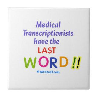 Palabra médica del último del práctico de costa de azulejo cuadrado pequeño
