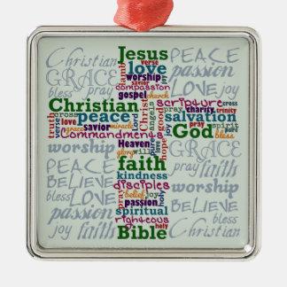 Palabra religiosa cristiana Art Cross Adorno Cuadrado Plateado