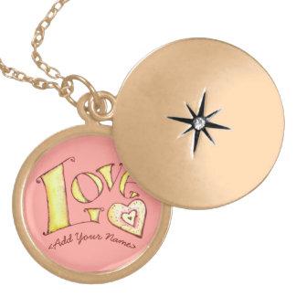 Palabra rosada del amor con el Locket del oro del Collar Dorado