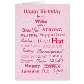 Palabras de feliz cumpleaños de la esposa de la tarjeta de felicitación