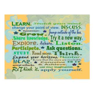 palabras de la postal del collage de la sabiduría
