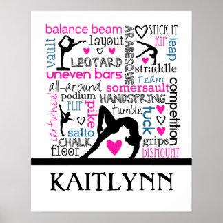 Palabras de la terminología de la gimnasia con el póster