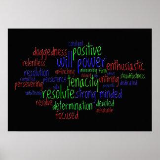 Palabras de motivación que animan una actitud posi póster