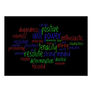 Palabras de motivación que animan una actitud póster