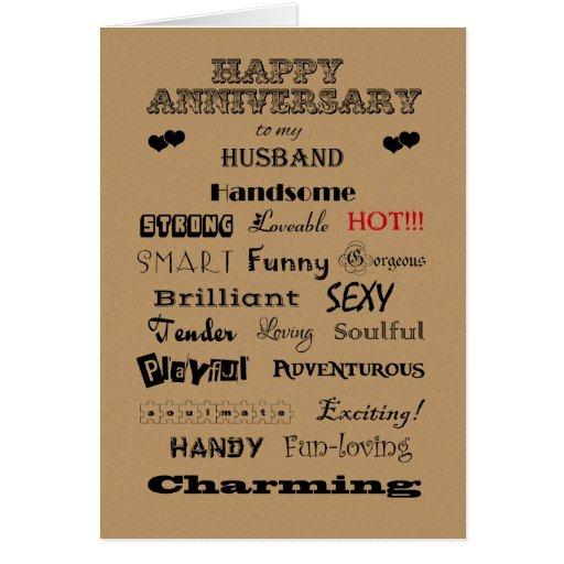 Palabras felices del aniversario del marido de la  felicitacion