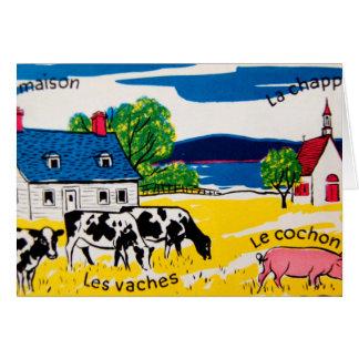 Palabras francesas en la granja felicitacion