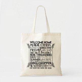 Palabras inspiradas animadas bolso de tela