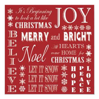 palabras modernas del navidad del vintage invitacion personalizada