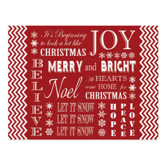 palabras modernas del navidad del vintage tarjeta postal