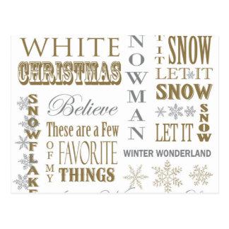 palabras modernas del navidad del vintage postal