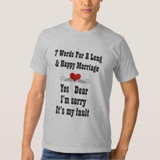 Palabras para una boda larga y feliz camisetas