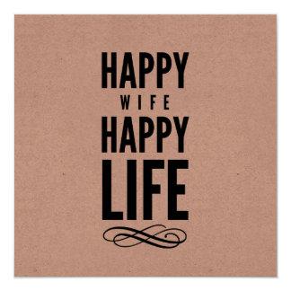 Palabras sabias divertidas de la esposa feliz invitación 13,3 cm x 13,3cm