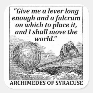 Palanca de Arquímedes Pegatina Cuadrada