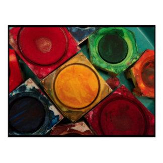 Paleta de la caja de la pintura de la acuarela postal