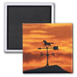 Paleta de tiempo en la puesta del sol imán cuadrado