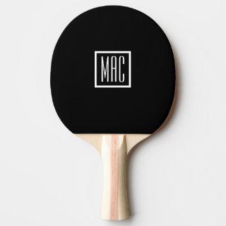 Paleta negra del ping-pong del monograma pala de ping pong