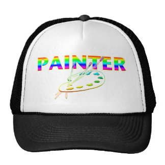 Paleta y brochas del pintor gorras