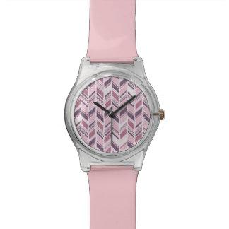 Palidezca - Chevron rosado y violeta Reloj De Mano