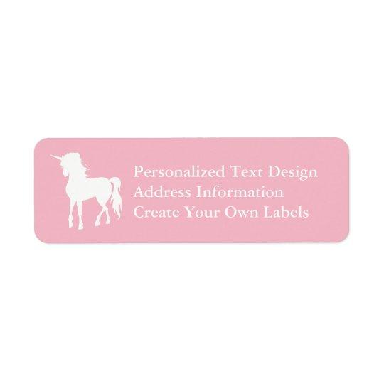 Palidezca - el unicornio rosado y blanco etiqueta de remite