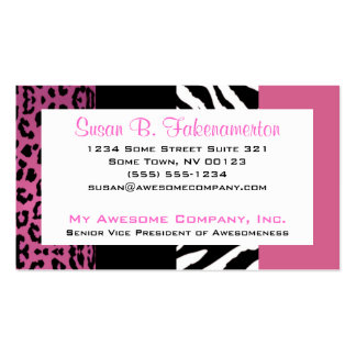 Palidezca - la cebra y el leopardo rosados y tarjetas de visita